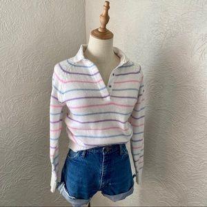 Vintage Pastel Quarter Button Collared Sweater